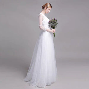 The Yolanda Wedding Bridal Illusion Sleeve Lace Gown - WeddingConfetti