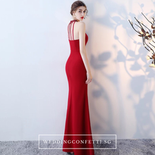 Load image into Gallery viewer, The Rolinda Red Halter Gown With Slit - WeddingConfetti