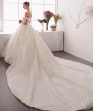 Load image into Gallery viewer, The Ristelle Wedding Bridal Sequined Off Shoulder Gown - WeddingConfetti