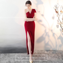Load image into Gallery viewer, The Claudine One Shoulder Red / Black / White Gown With Slit - WeddingConfetti