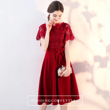 Load image into Gallery viewer, The Melinda Black / Red / Wine Red Lace Gown - WeddingConfetti