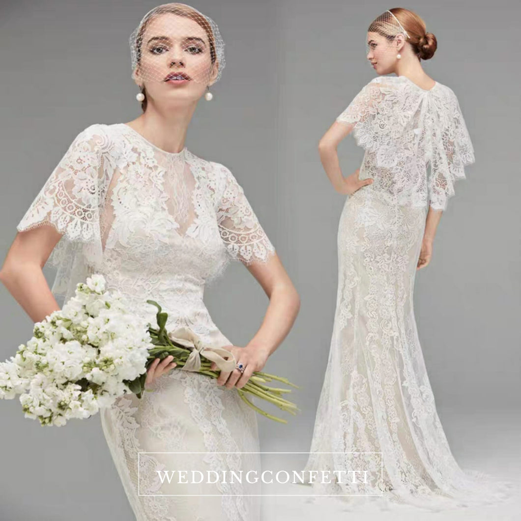 The Keranda Wedding Bridal Drape Sleeve Lace Gown - WeddingConfetti