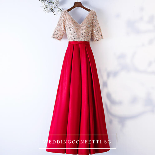 The Annabella Red And Champagne Short Sleeves Dress - WeddingConfetti
