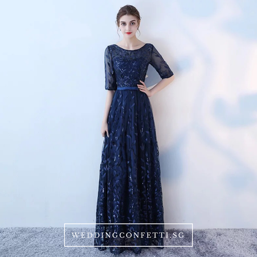 The Tammy Navy Blue / Silver / Red Long Sleeves Gown - WeddingConfetti