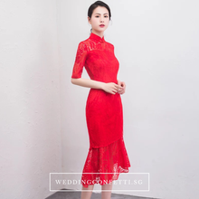 Load image into Gallery viewer, The Janis Mandarin Collar Cheongsam Lace Red Dress - WeddingConfetti