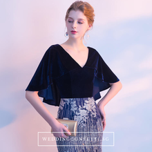 Load image into Gallery viewer, The Wendy Navy Blue Cape Sleeves Gown