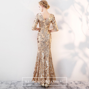 The Carina Wedding Bridal Champagne / Gold Glitter Long Sleeves Fishtail Gown - WeddingConfetti