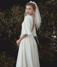 Load image into Gallery viewer, The Emerson Wedding Bridal Puff Sleeves White Gown - WeddingConfetti