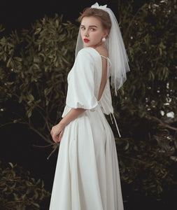 The Emerson Wedding Bridal Puff Sleeves White Gown - WeddingConfetti