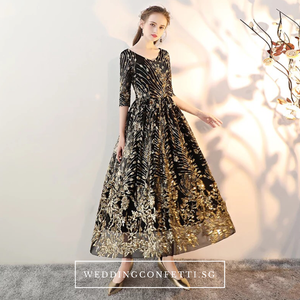 The Sharmaine Gold Black Long Sleeves Gown - WeddingConfetti
