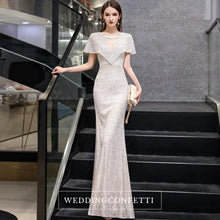 Load image into Gallery viewer, The Reysel Short Sleeves Sequined Sliver Gown - WeddingConfetti