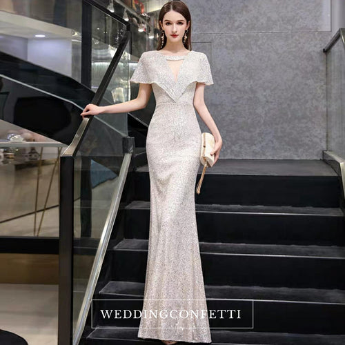 The Reysel Short Sleeves Sequined Sliver Gown - WeddingConfetti