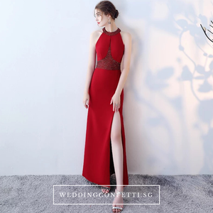 The Rolinda Red Halter Gown With Slit - WeddingConfetti