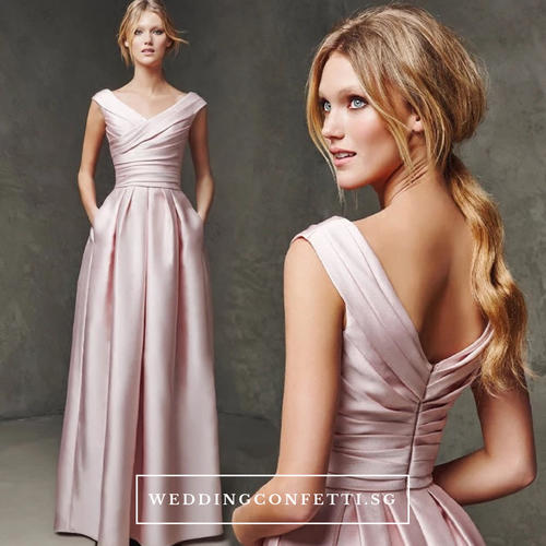 The Emma Satin Off Shoulder Dress (Customisable) - WeddingConfetti