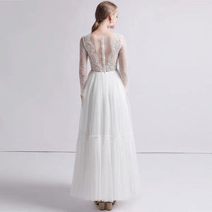 The Petrio Wedding Bridal Illusion Sleeves Lace Gown - WeddingConfetti