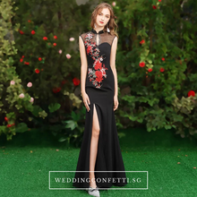 Load image into Gallery viewer, The Marisa Mandarin Collar White / Red / Black Sleeveless Gown