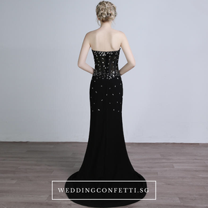 The Candice Black Fishtail Dress / Gown - WeddingConfetti