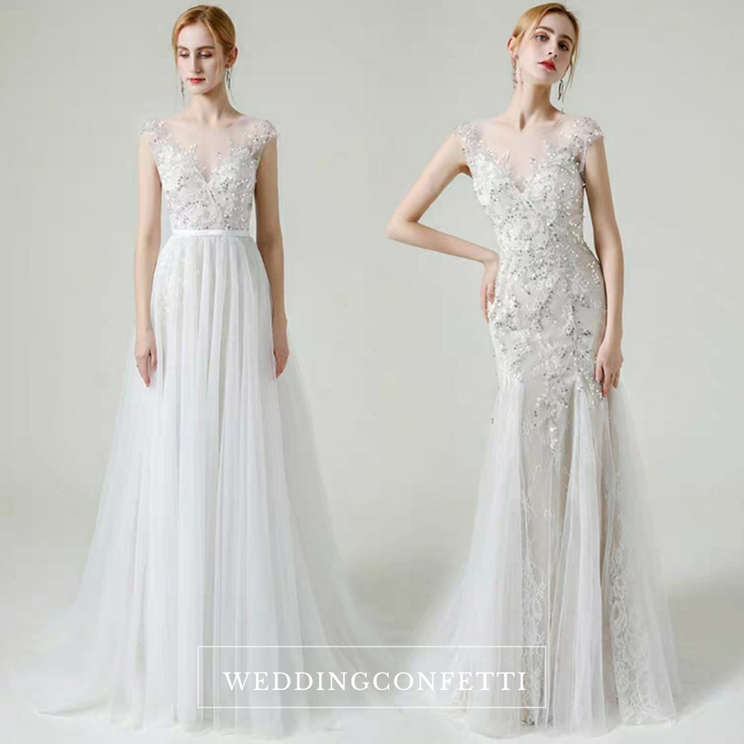 The Lorende Wedding Bridal Sleeveless Gown with Detachable Train - WeddingConfetti