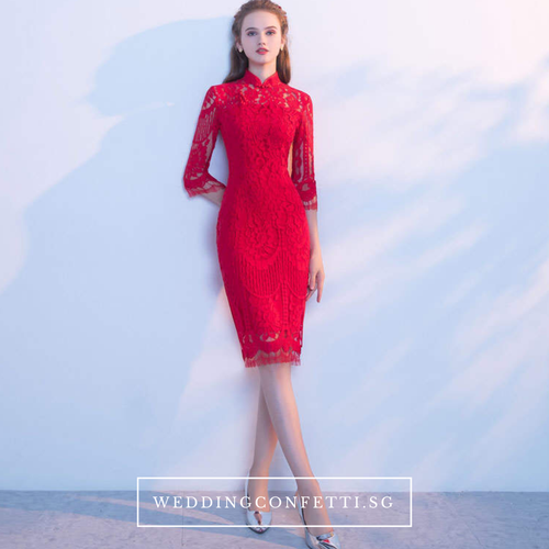 The Cassia Lace Mandarin Collar Dress - WeddingConfetti