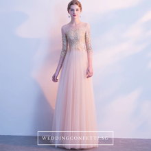 Load image into Gallery viewer, The Angelica Gold Long Sleeves Gown - WeddingConfetti