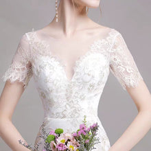 Load image into Gallery viewer, The Nikita Wedding Bridal Short Sleeve Lace Dress - WeddingConfetti