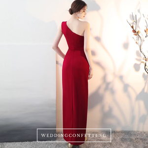 The Claudine One Shoulder Red / Black / White Gown With Slit - WeddingConfetti
