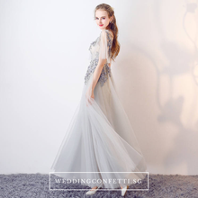Load image into Gallery viewer, The Cassy Light Grey Cape Sleeves Dress - WeddingConfetti