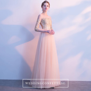 The Angelica Gold Long Sleeves Gown - WeddingConfetti