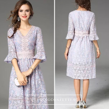 Load image into Gallery viewer, The Laura Floral Flare Sleeves Lilac Dress - WeddingConfetti