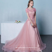 Load image into Gallery viewer, The Pennslyvania Pink Short Sleeve Tulle Gown - WeddingConfetti