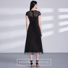Load image into Gallery viewer, The Veronica Black Cap Sleeves Gown - WeddingConfetti