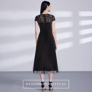 The Veronica Black Cap Sleeves Gown - WeddingConfetti
