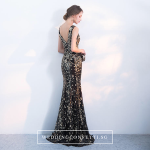 The Ariana Black Gold Sleeveless Dress - WeddingConfetti