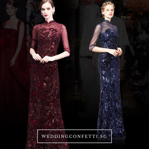 The Amaria Mandarin Collar Blue / Red Long Sleeves Gown (Available in 2 colours) - WeddingConfetti