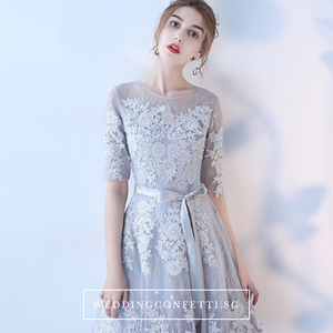 The Jeraldine Grey Long Sleeves Dress - WeddingConfetti