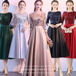 The Tessa Gold / Silver / Red / Black / Green Long Sleeve Gown (Available in 5 colours) - WeddingConfetti
