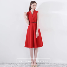 Load image into Gallery viewer, The Wendy Structured A-line Black / Red Midi Dress