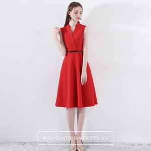 The Wendy Structured A-line Black / Red Midi Dress