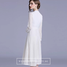 Load image into Gallery viewer, The Estacia Wedding Bridal White Long Sleeves Dress - WeddingConfetti