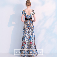 Load image into Gallery viewer, The Heather Floral Short Sleeves Gown - WeddingConfetti