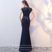 Load image into Gallery viewer, The Ashley Navy Blue Short Sleeves Dress - WeddingConfetti