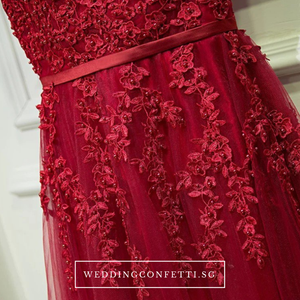 The Rose Pink/Red Lace Sleeveless Dress - WeddingConfetti