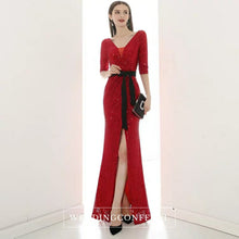 Load image into Gallery viewer, The Lavinia Long Sleeves Red Sequined Gown - WeddingConfetti