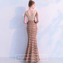 Load image into Gallery viewer, The Anna Bronze Cold Shoulder Dress - WeddingConfetti