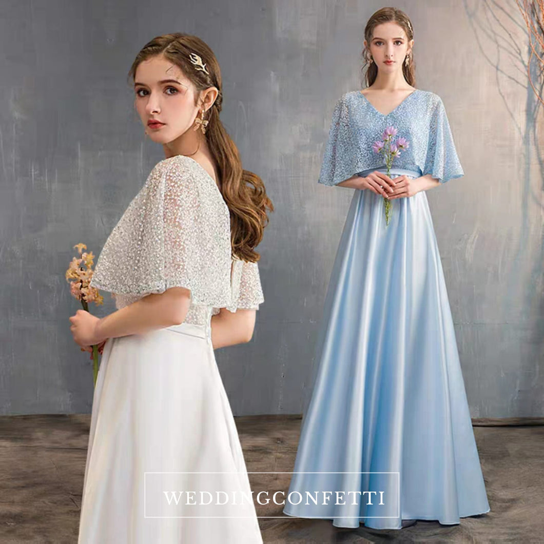 The Lorde Drape Sleeves Gown (Available in 8 colours) - WeddingConfetti