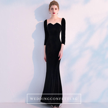 Load image into Gallery viewer, The Audrey Wedding Bridal Black Long Sleeve Gown