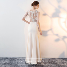 Load image into Gallery viewer, The Jacqueline Champagne Lace Short Sleeves Gown With Slit - WeddingConfetti