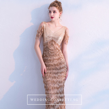 Load image into Gallery viewer, The Anna Bronze Cold Shoulder Dress