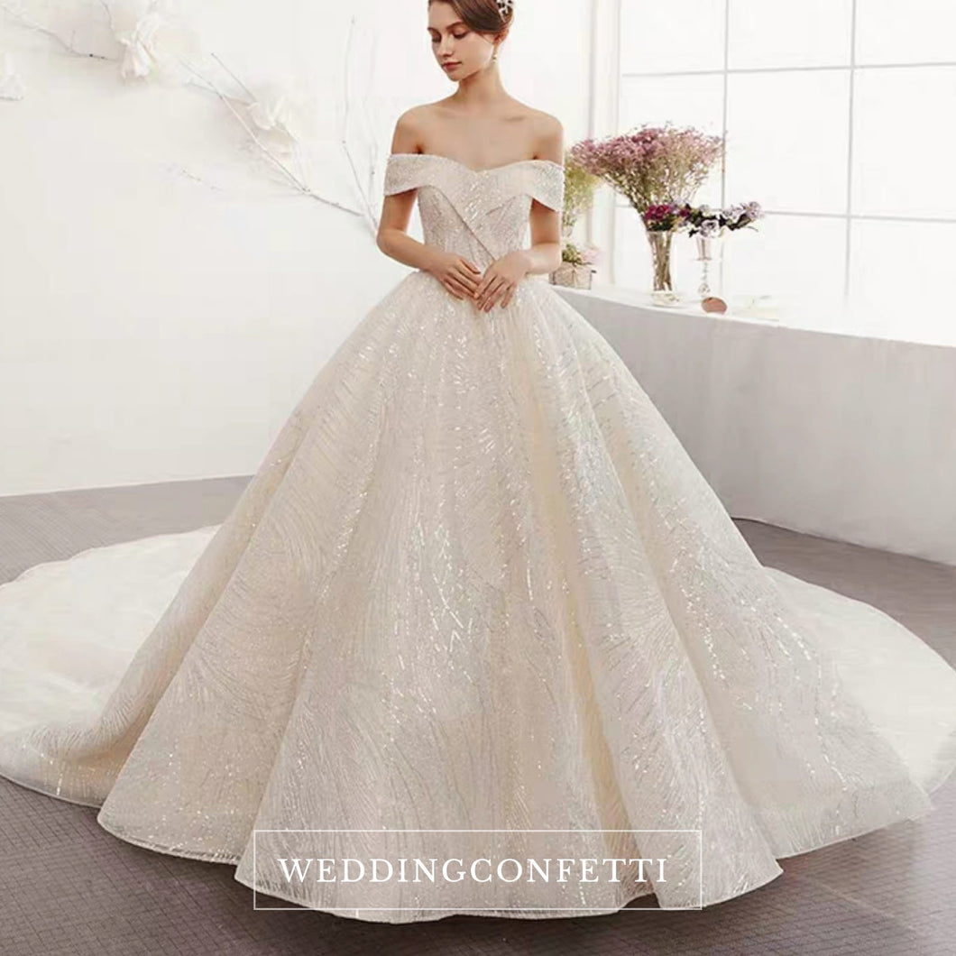 The Ristelle Wedding Bridal Sequined Off Shoulder Gown - WeddingConfetti