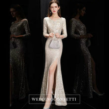 Load image into Gallery viewer, The Quenta Long Sleeves Sequined Gown - WeddingConfetti
